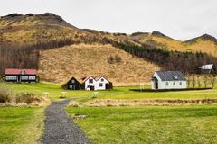 Typical view of Icelandic houses in the Skogar village in Iceland, Europe. Typical view of Icelandic turf-top houses in the Skogar village, south Iceland, Europe stock image