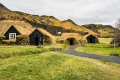 Typical view of Icelandic houses in the Skogar village in Iceland, Europe. Typical view of Icelandic turf-top houses in the Skogar village, south Iceland, Europe royalty free stock image