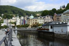 Downtown  Karlovy Vary Stock Image