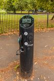 A typical view in London. London. August 2018. A view of a vehicle charging point in Regents park in London stock images