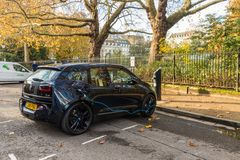 A typical view in London. London November 2018. A view of a BMW recharging in London royalty free stock photo