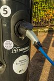A typical view in London. London November 2018. A view of a car recharging station in London royalty free stock photography