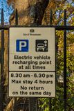 A typical view in London. London November 2018. A view of a electric vehicle recharging sign in London royalty free stock photo