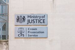 A typical view in London. London. November 2018. A view of a sign for the Ministry of Justice and Crown Prosecution Service in London royalty free stock images