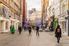A typical view in London. London. November 2018. A view of South Molton Street in Mayfair in London royalty free stock images