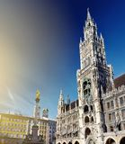 Typical view of Marienplatz square in Munich, Germany. Typical view of Marienplatz square with New City Hall, Mary`s Column and Frauenkirche in Munich, Germany Stock Images