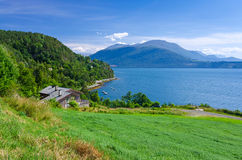 Typical view from Norwegian village Royalty Free Stock Photos