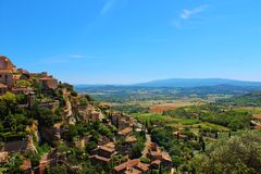 Typical view over the Vaucluse, Provence, France. Royalty Free Stock Image