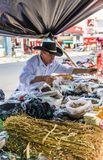 A typical view in San Salvador in El Salvador. San Salvador. February 2018. A view of a spice stall in San Salvador in El Salvador stock photography