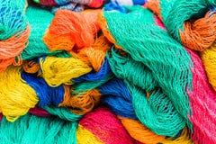 A typical view in San Salvador, El Salvador. San salvador, El salvador. January 2018. Colourful fishing nets for sale in a market in San Salvador, El Salvador Royalty Free Stock Photography