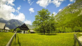 Typical view of small village in Julian Alps, Slovenia stock video footage
