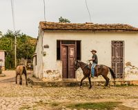 A typical view in Trinidad in Cuba stock photo