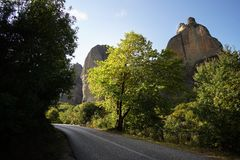 Typical view of the untouched landscape of Meteora. With its monastery perched on top of its rocks royalty free stock photos