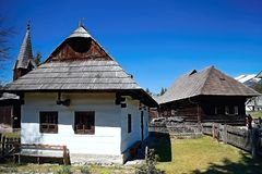 Typical view of wooden historical houses in the Museum of Liptov Village - open-air museum Pribylina. stock image