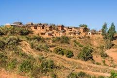 Typical village. Of Malagasy highlands near Ampefy, Madagascar Royalty Free Stock Image
