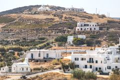 Typical village on Antiparos, Greece. A typical village with blue and white houses on Antiparos, one of the Cyclade islands in Greece stock photography