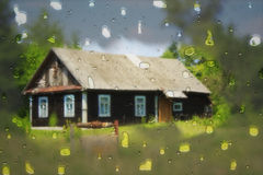 Typical village house with blur effect Royalty Free Stock Photography