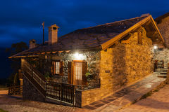 Typical village house in the province of Aosta Valley in Italy photographed at night Royalty Free Stock Photo