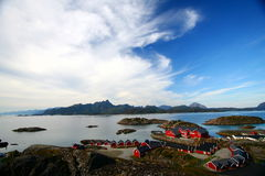 Typical village of the lofoten. Typical red houses of the lofoten islands in norway Royalty Free Stock Image