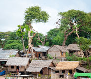Typical village scene of local Burmese Stock Photo