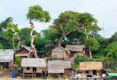 Typical village scene of local Burmese Stock Photo