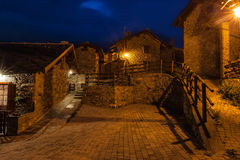Typical village street in the province of Aosta Valley in Italy. Photographed at night Stock Photo