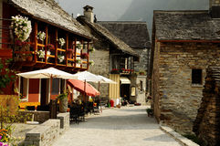 Typical village in the Swiss Alps. Sonogno (Ticino - Swiss), located in Val Verzasca, is a typical village of the Swiss Alps, with house made of stones, calm and Royalty Free Stock Photos