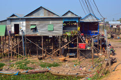 Typical village on the Tonle Sap river Stock Photography