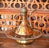 Typical vintage metal teapots, Gjirokaster, Albania. Stock Photo
