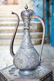 Typical vintage metal teapots in Jerusalem. Israel Royalty Free Stock Photography