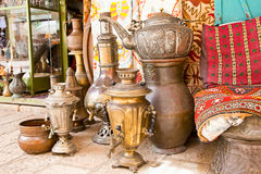 Typical vintage metal teapots in Jeruslalem Stock Photography