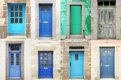 Typical vintage wooden doors collage Stock Image