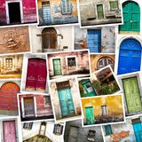 Typical vintage wooden doors collage Stock Photography