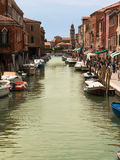 Typical Water Canal with Boats in Murano Isle near Venice, Italy Stock Photos