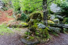 Typical water fountain, from Peneda . Geres National Park, North of Portugal stock images