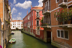 Typical water street in Venice Stock Photos