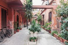 Typical weathered residential yard in the old town Rome with tropical potted flowers. Typical weathered historical residential yard in the old town of Italian stock photo