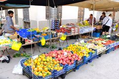 Weekly Farmers Market, Galaxidi, Greece. A typical weekly farmers fresh fruit and vegetable market, or Laiki, this one in Galaxidi, a picturesque town on the Royalty Free Stock Images