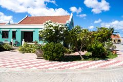 Typical well-mainted colorful home in Aruba, Caribbean Sea royalty free stock photos