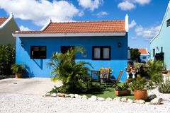 Blue painted home in Aruba, Caribbean Sea Stock Image