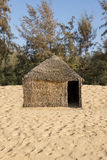 Typical West-African hut with a straw roof Stock Photo