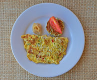 Typical Western Breakfast with Mauritian Flavour with a slice of raw fish Royalty Free Stock Photo