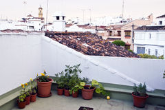 Typical white andalusian village with  garden. Typical white andalusian village in malaga with little garden Royalty Free Stock Images