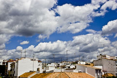 Typical white andalusian village. In malaga with cloudly sky Stock Photo