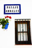 Typical white andalusian village. Typical street in white andalusian village in malaga Stock Photos