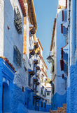 Typical white and blue buildings in the city Chefchaouen, Morocco. Royalty Free Stock Image