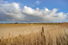 Typical white church in landscape at the island, Texel, Holland Royalty Free Stock Image