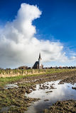 Typical white church in landscape at the island, Texel, Holland Stock Image