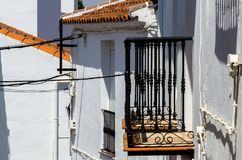 Typical white defensive walls in a small town of Andalusia, a historic element of architecture stock photos