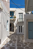 Typical white house in town of Parakia, Paros island, Greece Stock Photography